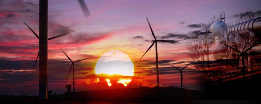 Solnedgång, vindkraftverk och förnybar energi